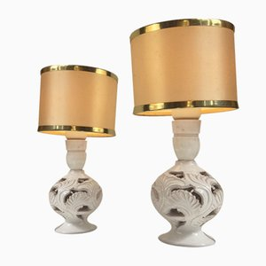Vintage Perforated Danish Pottery Table Lamps by Michael Andersen, Set of 2