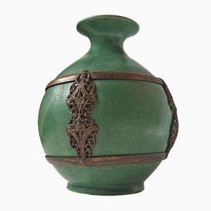Vase Antique Vert en Poterie avec Éléments en Laiton par Herman August Kähler, Danemark