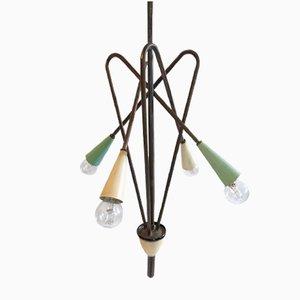 Lampada a sospensione in ottone e metallo verniciato di Stilnovo, anni '50