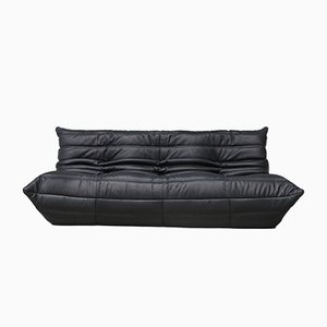Vintage Three-Seater Togo Black Leather Sofa by Michel Ducaroy for Ligne Roset