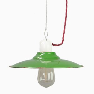 Small Vintage Green Enameled Pendant Light