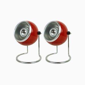 Rote Nachttischlampen, 1960er, 2er Set