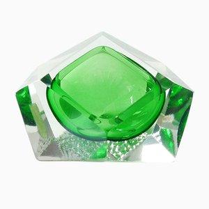 Cenicero italiano de cristal de Murano verde, años 60