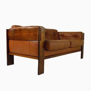 Sofá danés de palisandro y cuero, años 60