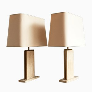 Belgische Travertine Marmor Lampen von Camille Breesch, 1970er, 2er Set