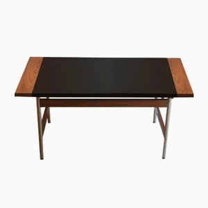 Tavolino da caffè vintage in palissandro e pelle di Sven Ivar Dysthe per Dokka Møbler