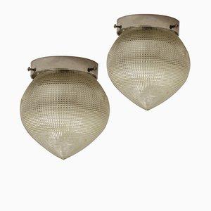 Lámparas de techo industriales francesas vintage de Holophane. Juego de 2