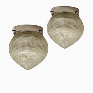 Vintage French Industrial Ceiling Lights from Holophane, Set of 2