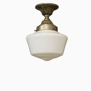 Vintage French Industrial Ceiling Light with White Opaline Glass Shades