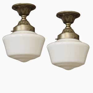Vintage French Industrial Ceiling Lights with White Opaline Glass Shades, Set of 2