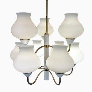 Lámpara de araña vintage de latón y vidrio opalino