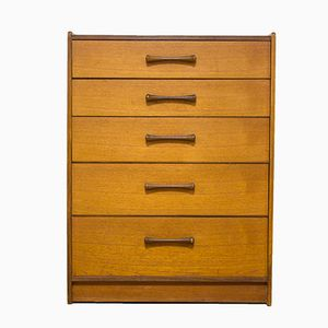 Danish Teak Tallboy Chest of Drawers with Turned Handles