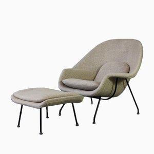 Womb Polsterstuhl mit Hocker von Eero Saarinen für Knoll Inc, 1970er