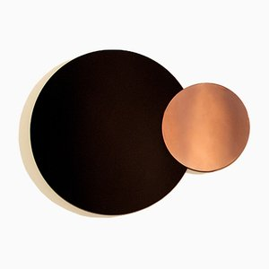 Constructivist Circle Modern Wall Mirror in Polished Copper by Nina Cho