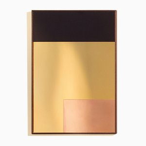 Miroir Mural Constructiviste Moderne Rectangulaire en Cuivre Poli par Nina Cho
