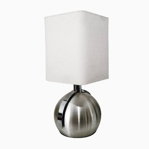 Large French Spherical Steel Table Lamp, 1970s