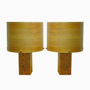 Lámparas de mesa vintage de pino con pantallas chapadas. Juego de 2