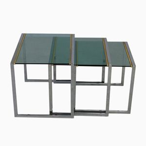 French Green Glass Nesting Tables, 1970s