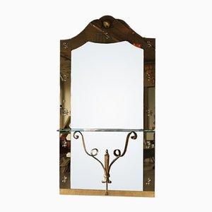 Großer Spiegel mit Ablage von Cristal Art, 1950er