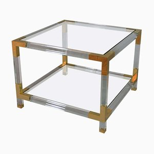 French Lucite & Glass Side Table, 1970s