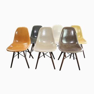 DSW Glasfaser Stühle von Charles & Ray Eames für Herman Miller, 1960er, 6er Set