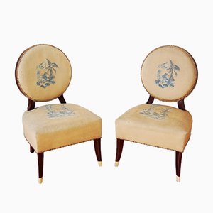 Low Art Deco Mahogany Chairs, 1940s, Set of 2