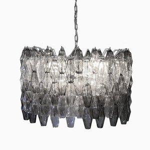 Lampadario Mid-Century in vetro di Murano grigio e trasparente di Carlo Scarpa, Italia