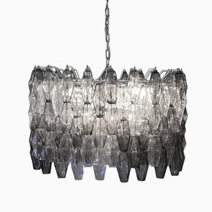 Mid-Century Italian Clear & Grey Murano Glass Chandelier by Carlo Scarpa