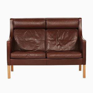 Divano 2432 in pelle e quercia di Børge Mogensen per Fredericia Furniture, Danimarca, anni '70
