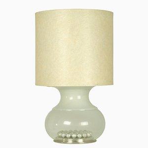 Lámpara de mesa italiana grande de vidrio y fibra de vidrio, años 70