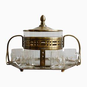 Set da tavolo Art Déco in vetro e ottone