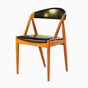 Silla de comedor modelo 31 vintage de teca y cuero sintético negro de Kai Kristiansen