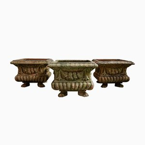 Antique Terracotta Vases with Lion Feet, 1900s, Set of 3