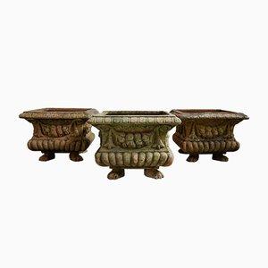 Vasi antichi in terracotta con piedi di leone, inizio XX secolo, set di 3