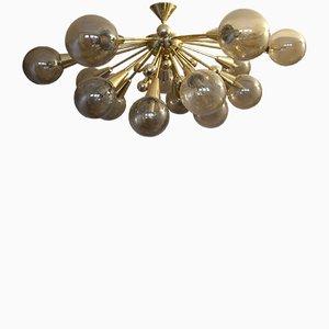 Plafonnier Semi Sputnik Vintage Doré avec Verre de Murano