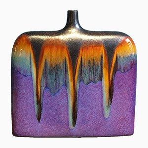 Grand Vase Mid-Century en Céramique avec Glaçage Multicolore