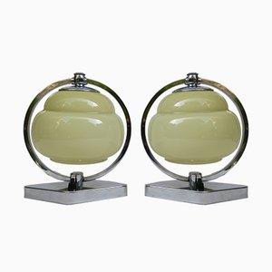 Lámparas de mesita de noche Art Déco vintage de metal cromado y vidrio beige. Juego de 2