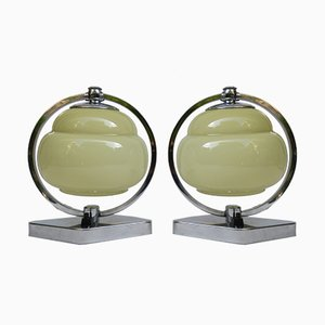 Vintage Art Deco Chrome & Beige Glass Bedside Lamps, Set of 2