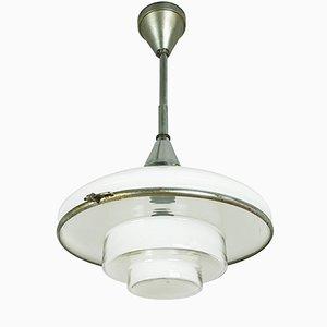 Petite Lampe à Suspension en Chrome Plaqué & Verre Opalin par Otto Müller pour Sistrah, 1930s
