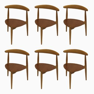 Heart Chairs by Hans Wegner for Fritz Hansen, 1963, Set of 6
