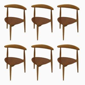Heart Chairs von Hans Wegner für Fritz Hansen, 1963, 6er Set