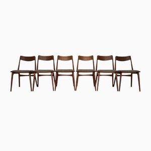 Dänische Vintage Teak Boomerang Esszimmerstühle von Erik Christensen für Slagelse Møbelværk, 6er Set