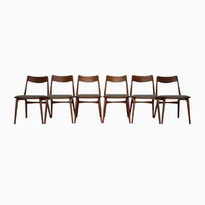 Vintage Danish Teak Boomerang Dining Chairs by Erik Christensen for Slagelse Møbelværk, Set of 6