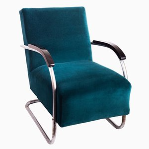 Vintage Petrol Blue Tubular Armchairs by Marcel Breuer, Set of 2