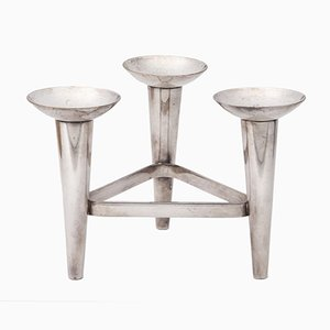 Modernist Dutch Silver-Plated Candleholder, 1960s