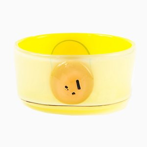 Vintage Canary-Yellow Italian Glass Bowl