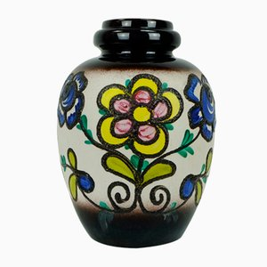 Fat Lava Floor Vase with Flower Decor from Scheurich, 1960s