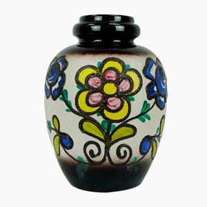 Vase Fat Lava avec Décor Floral de Scheurich, 1960s