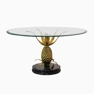 Sculptural Brass, Glass, and Marble Pineapple Coffee Table, 1970s