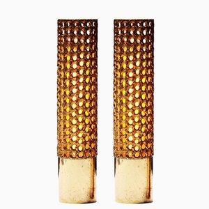 Lámparas de latón perforado altas de Pierre Forssell para Skultuna, 1975. Juego de 2